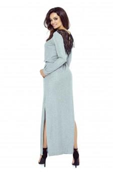 09-05 Monica – sukienka dzienna przysłaniająca niedoskonałości (biało-szare moro)