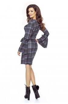 09-12 Monica – sukienka dzienna przysłaniająca niedoskonałości (zieleń turecka)