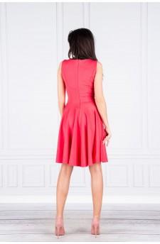 Achira – piękna dwukolorowa krótka sukienka (beż-brąz)