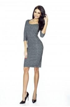 Danusia – elegancka sukienka podkreślona paskiem (panterka)