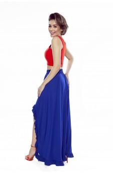 37-05 Sofia – sukienka z wycięciem na ramionach (chaber)