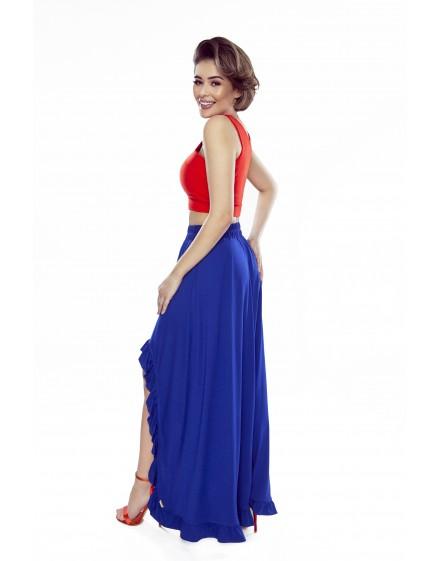 Sofia – sukienka z wycięciem na ramionach (chaber)