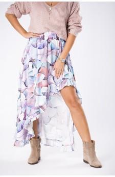 27-06 Eleonora – sukienka z dekoltem eksponującym plecy (Grochy Granat)