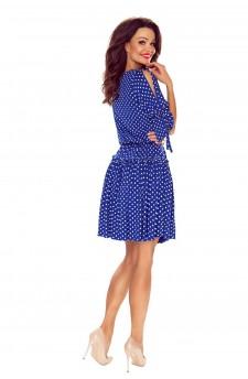 27-07 - Eleonora - dress with neckline on the back (maroon print)