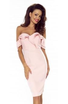 27-10 Eleonora – sukienka z dekoltem eksponującym plecy (Paski Czerwony)