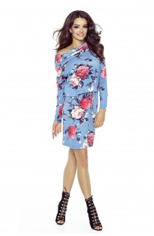 Domenica - classic elegant dress with a beautiful neckline (flower pattern)
