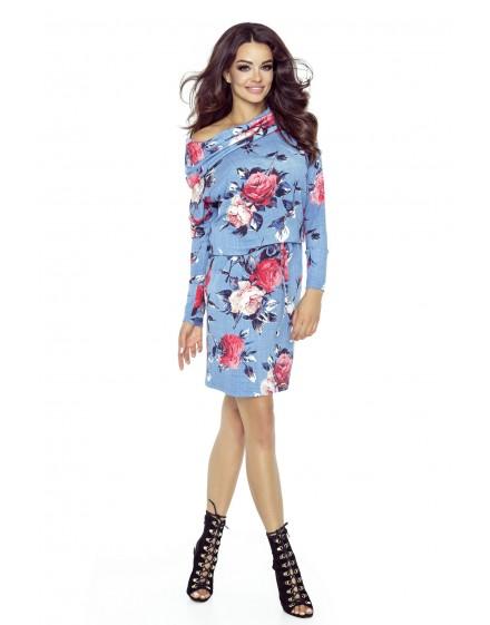Domenica - klasyczna elegancka sukienka z pięknym dekoltem (wzór kwiaty)