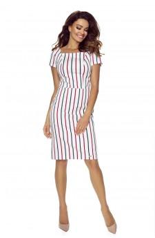 87-09 Paula wygodna sukienka dzienna (biała w granatowo czerwone paski)