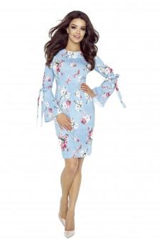 70-02 OLGA sukienka z wiązanymi rękawami (róże rozmazane)