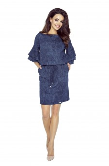 Jeansowa sukienka mini z falbaniastym rękawem