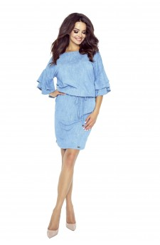 81-02 Viola beautiful dress with fashionable sleeves (jeans light blue)