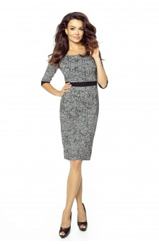 25-07 - DANUSIA - elegant dress with stripe (DARK CRUSHER)