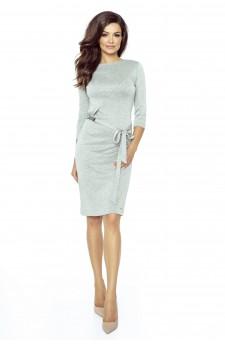 77-02 PPEPPI elegant dress with a matching belt (GRAY MEDIUM)