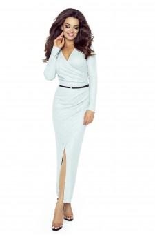 75-01 MARITA sukienka z asymetrycznym drapowaniem(SZARY JASNY BŁYSK)