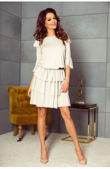 99-01 MEGGI dress with three flounces (beige)