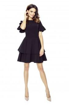 Sukienka z falbaniastymi rękawkami i dołem z dwuwarstwowej falbany