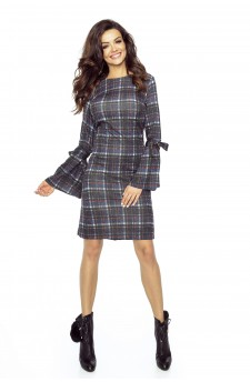 Checked dress with flared sleeves