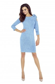 69-03 CHICA dress with a gap on the shoulder (blue jeans)