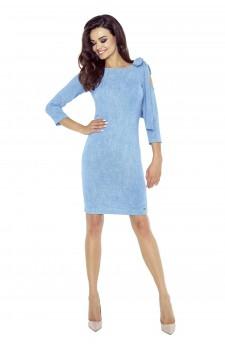 69-03 CHICA sukienka z pęknięciem na ramieniu (jeans niebieski)