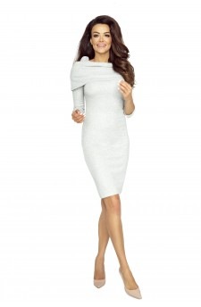 .22-03 - GRAZIA- classic, simple dress with inlaid golf (GRAY BRIGHT LIGHT)