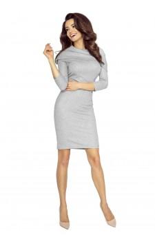 22-04 - GRAZIA- classic, simple dress with inlaid golf (GRAY AVERAGE FLASH)