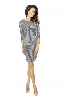 27-18 Eleonora – sukienka z dekoltem eksponującym plecy (szary-czarny 0,5x0,5)
