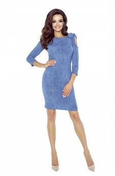 69-04 CHICA sukienka z pęknięciem na ramieniu (niebieski średni)