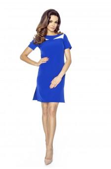 44-02 NADIA - klasyczna prosta sukienka z rozporkami na bokach (chaber)