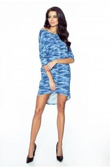 09-03 Monica – sukienka dzienna przysłaniająca niedoskonałości (jeansowy niebieski moro)