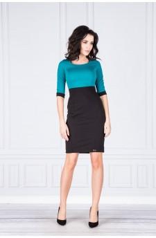 Danusia – elegancka sukienka z kontrastową górą (malina)