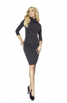 13-02 - DRAPED DRESS SWEATER WITH GOLF (black)