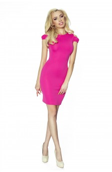 37-02 - SOFIA - dress with cut on the shoulders (pink)