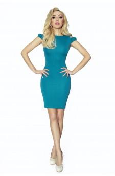 37-01 Sofia – sukienka z wycięciem na ramionach (zieleń turecka)