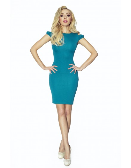 37-01 - SOFIA - dress with cut on the shoulders (green)
