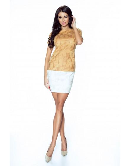 16-02 - ACHIRA - beautiful, two-tone and short dress (brown-beige)