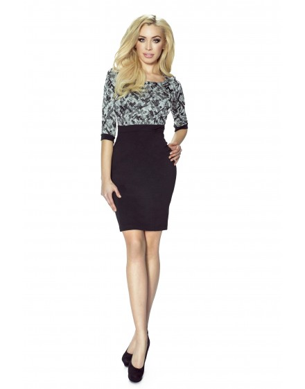 38-03 DANUSIA - elegant dress with contrast upper (pattern)