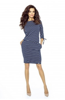 84-06 Venus comfy everyday dress (STRIPES NAVY 1,7X0,5)