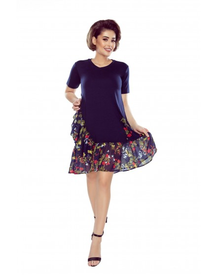 Knitted tunic with tulle frills