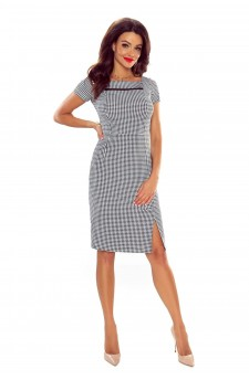 86-01elegant dress with mesh insertion (checked)