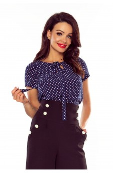 64-08 ILONA - comfortable and elegant blouse (COCLOR DOTS ON ECRU)
