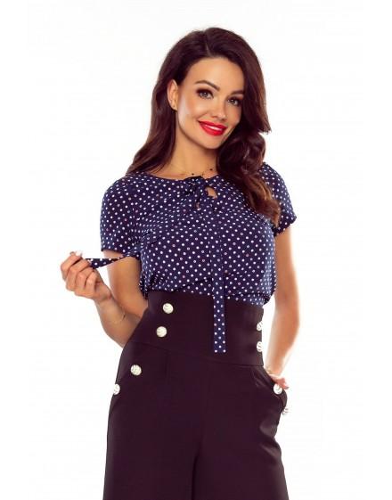 64-08 ILONA - comfortable and elegant blouse (COCLOR DOTS ON ECRU)