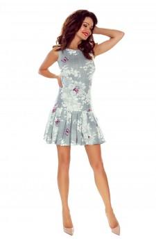 109-02 Suzana-dziewczęca sukienka z plisowanym dołem (szary motylek)