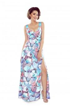 Wzorzysta sukienka maxi z dekoltem w serek i odkrytymi ramionami
