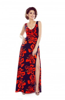 Patterned maxi dress with v-neck and bare shoulders