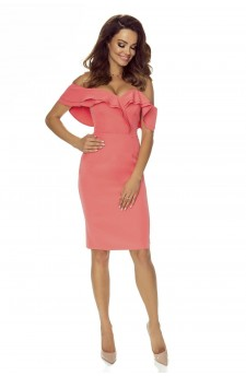 110-03 Cloe sensual dress with a sensual neckline and falling shoulders (salmon)