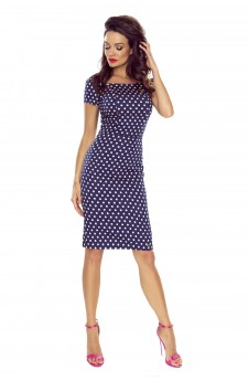 87-02 PAULA comfy everyday dress (NAVY IN PINK DOTS)