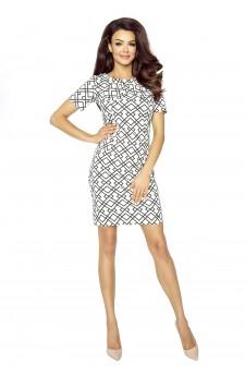 68-03 EVA – comfortable office dress (SQUARE SQUARES BLACK / WHITE)