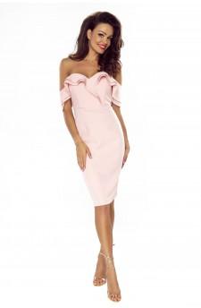 110-01 Cloe zmysłowa sukienka ze zmysłowym dekoltem i opadającymi ramionami (pastel róż)