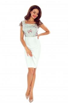103-01 Klara- elegancka sukienka z koronkową górą (biały listek)