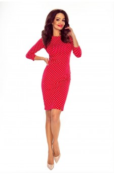 27-26 Eleonora - dress with neckline on the back ( red in peas)